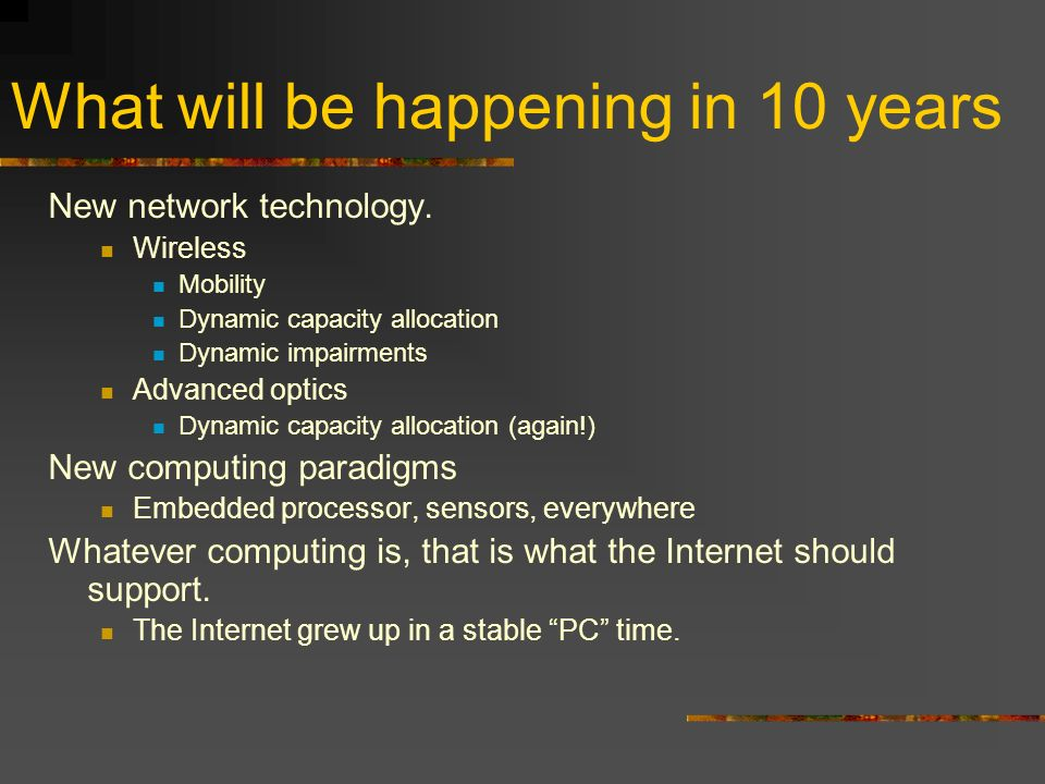 What will be happening in 10 years New network technology.