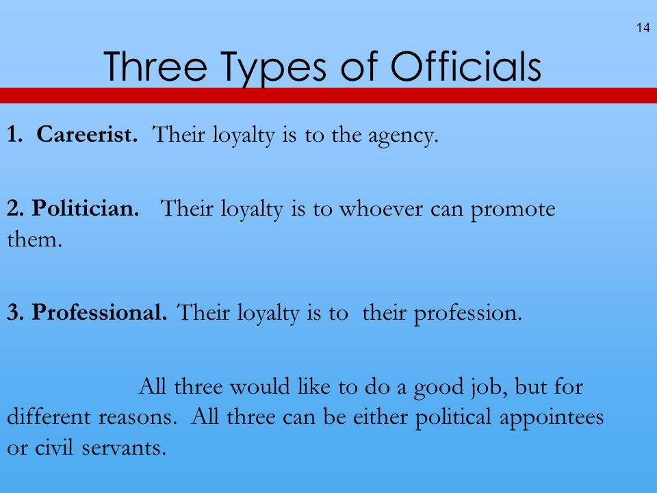 Three Types of Officials 1. Careerist. Their loyalty is to the agency.