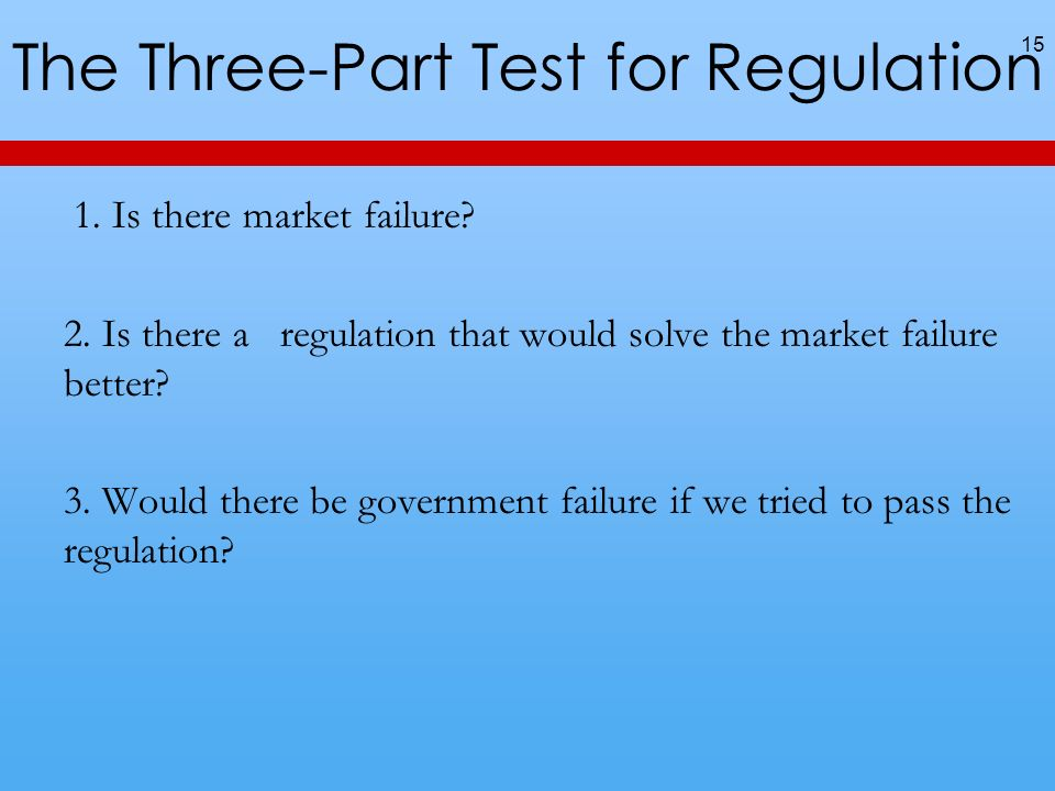 The Three-Part Test for Regulation 1. Is there market failure.