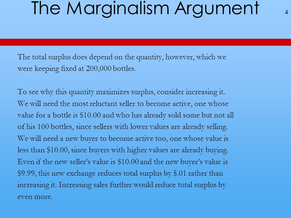 The Marginalism Argument The total surplus does depend on the quantity, however, which we were keeping xed at 200,000 bottles.
