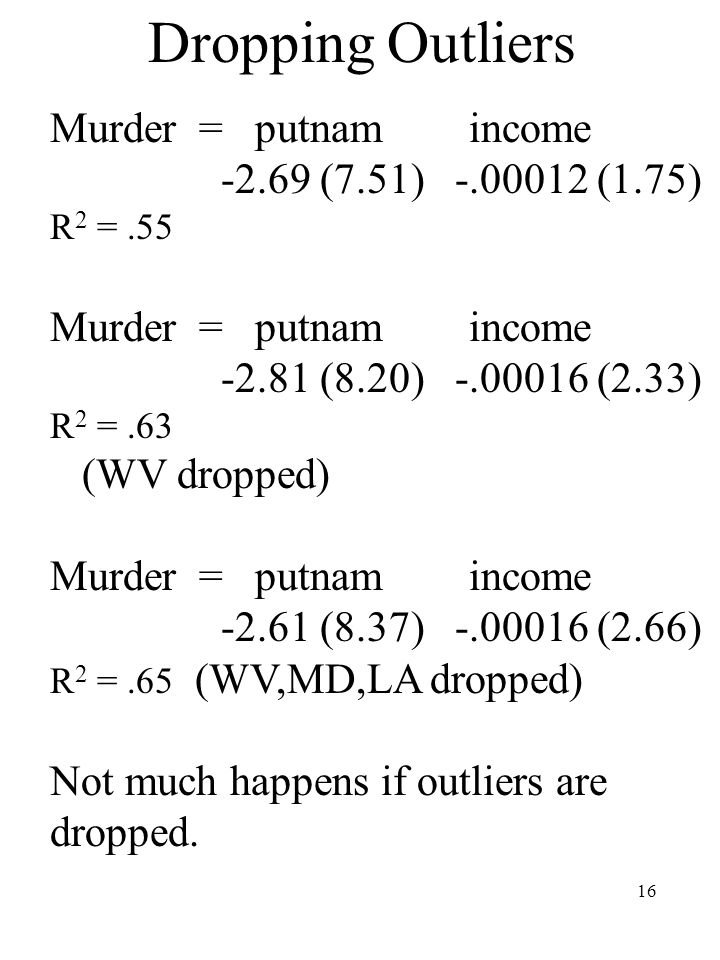16 Dropping Outliers Murder = putnam income -2.69 (7.51) -.00012 (1.75) R 2 =.55 Murder = putnam income -2.81 (8.20) -.00016 (2.33) R 2 =.63 (WV dropped) Murder = putnam income -2.61 (8.37) -.00016 (2.66) R 2 =.65 (WV,MD,LA dropped) Not much happens if outliers are dropped.