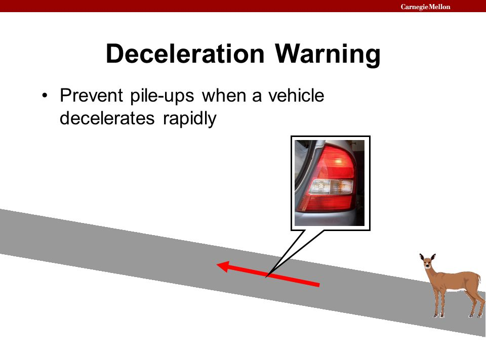 Deceleration Warning Prevent pile-ups when a vehicle decelerates rapidly