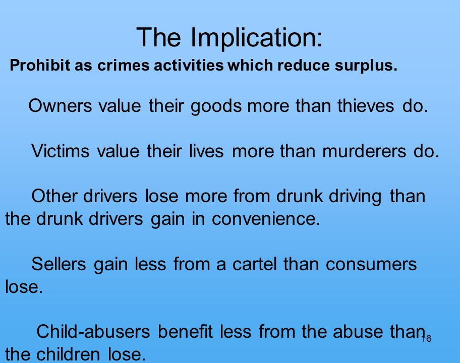 16 The Implication: Prohibit as crimes activities which reduce surplus.