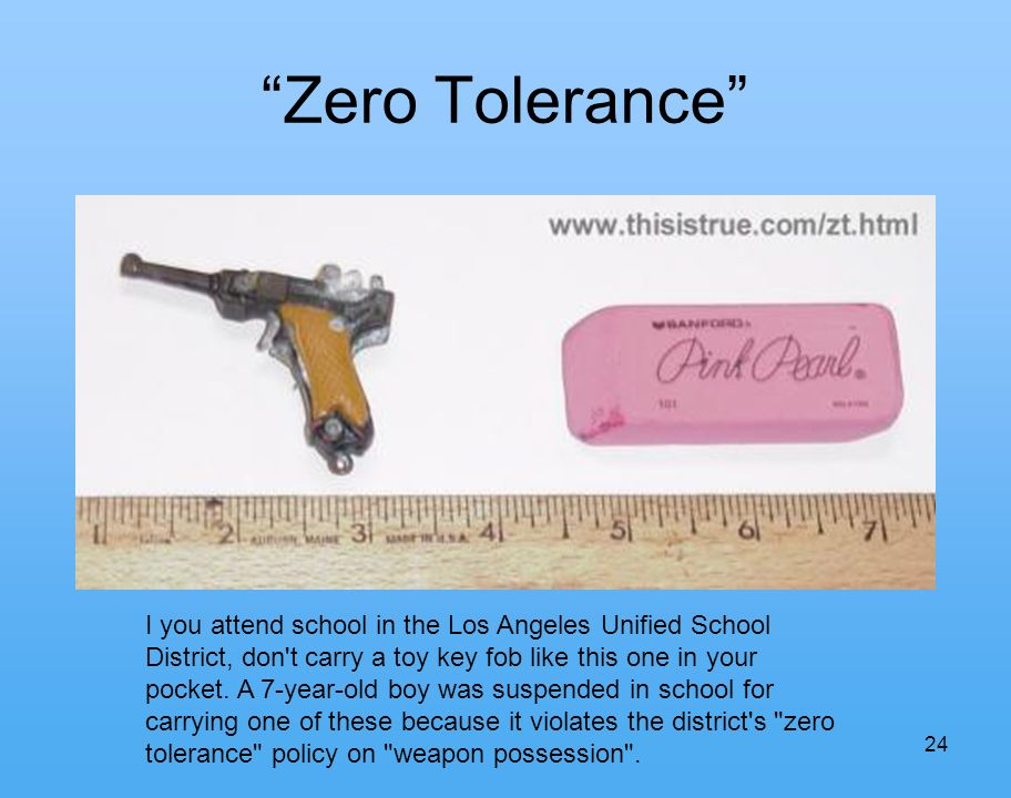 24 Zero Tolerance I you attend school in the Los Angeles Unified School District, don t carry a toy key fob like this one in your pocket.