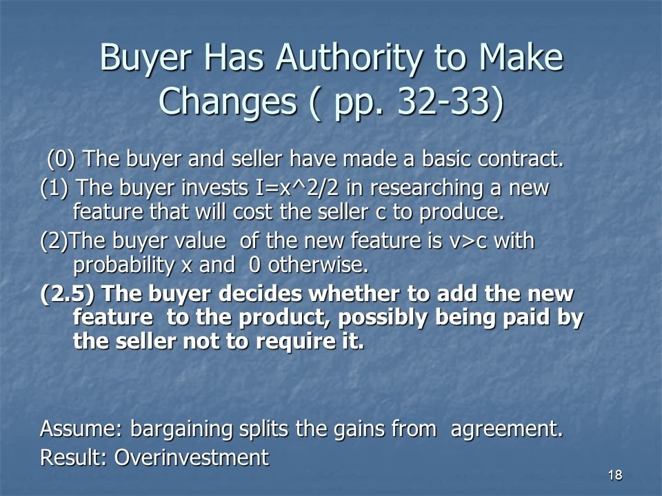 18 Buyer Has Authority to Make Changes ( pp. 32-33) (0) The buyer and seller have made a basic contract. (0) The buyer and seller have made a basic co