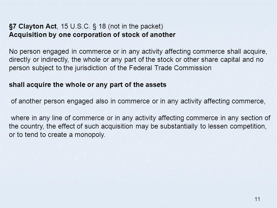 11 §7 Clayton Act, 15 U.S.C.