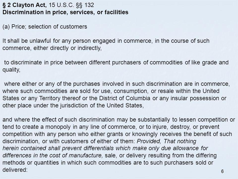 6 § 2 Clayton Act, 15 U.S.C.