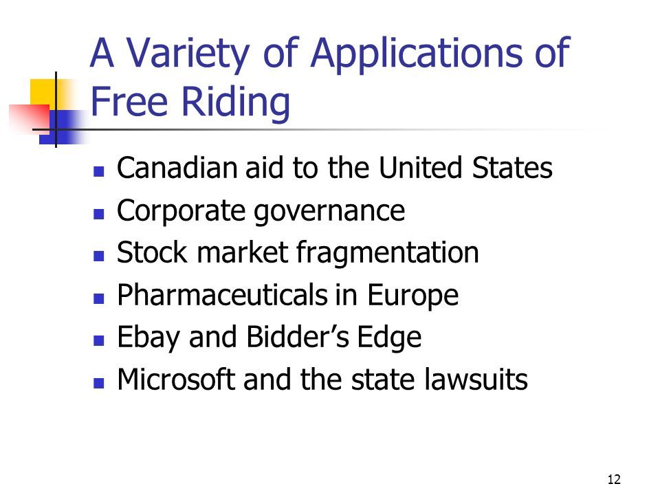 12 A Variety of Applications of Free Riding Canadian aid to the United States Corporate governance Stock market fragmentation Pharmaceuticals in Europ
