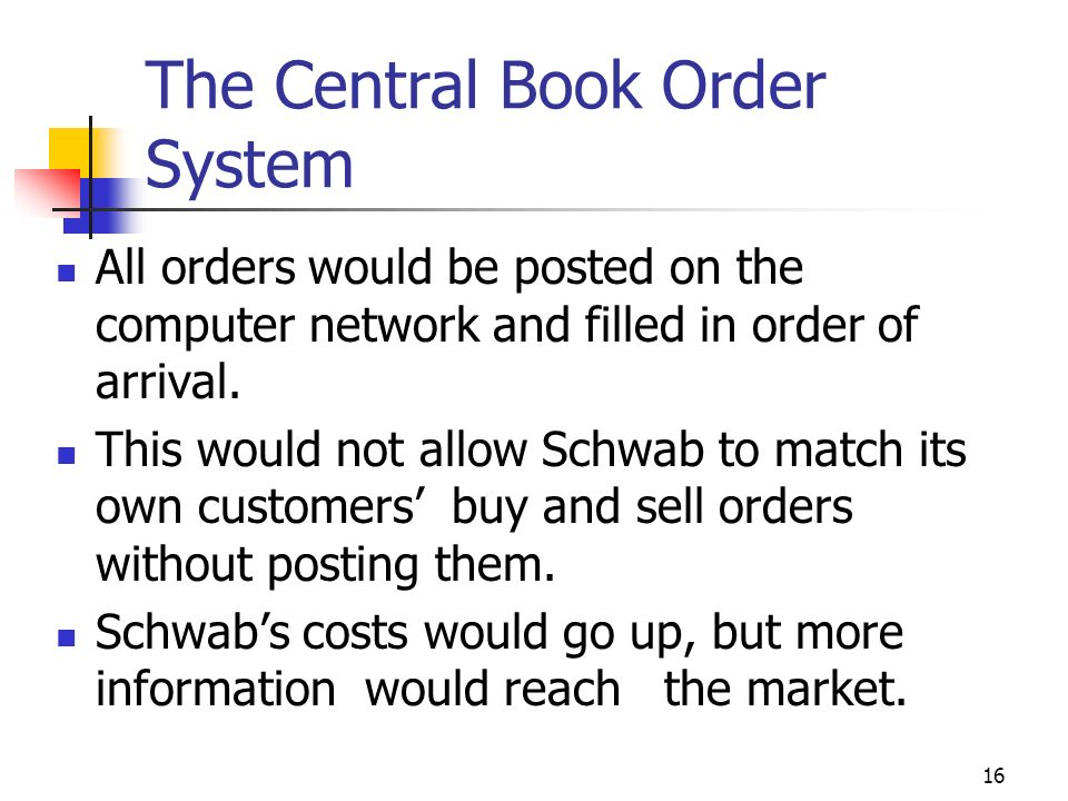 16 The Central Book Order System All orders would be posted on the computer network and filled in order of arrival. This would not allow Schwab to mat