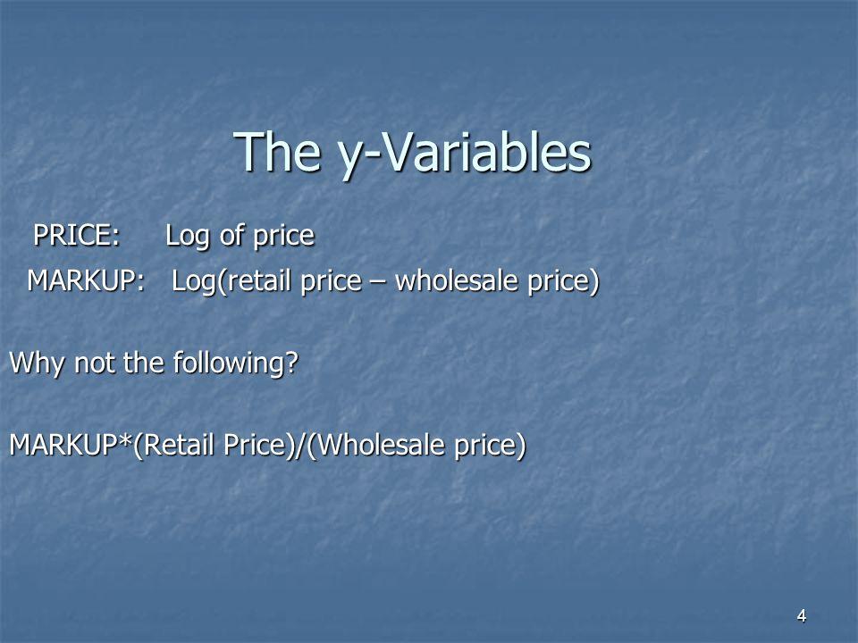 4 The y-Variables PRICE: Log of price PRICE: Log of price MARKUP: Log(retail price – wholesale price) MARKUP: Log(retail price – wholesale price) Why