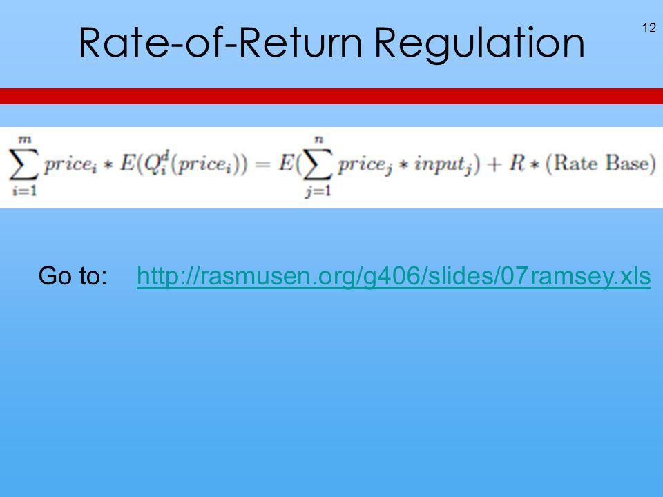 Rate-of-Return Regulation 12 Go to: http://rasmusen.org/g406/slides/07ramsey.xlshttp://rasmusen.org/g406/slides/07ramsey.xls