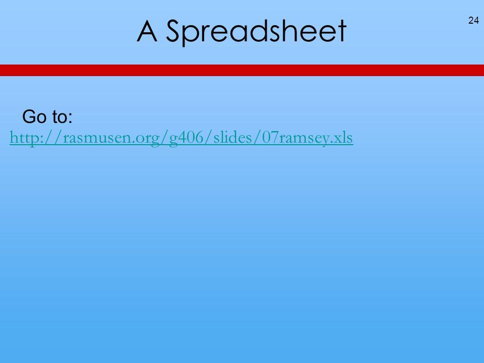 A Spreadsheet 24 Go to: http://rasmusen.org/g406/slides/07ramsey.xls