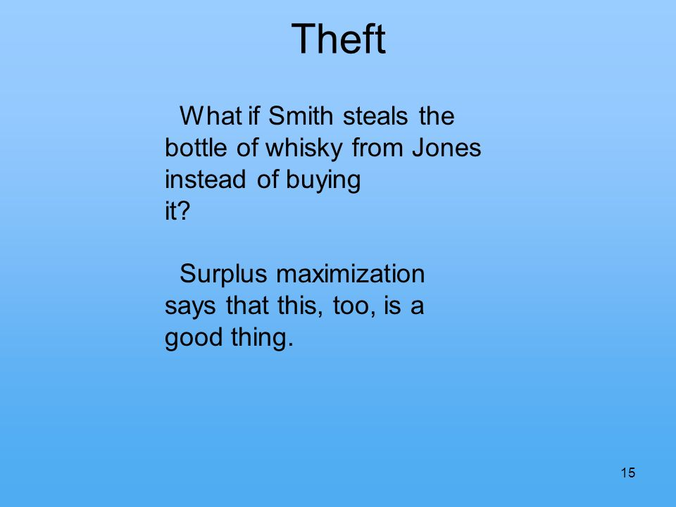 Theft 15 What if Smith steals the bottle of whisky from Jones instead of buying it.