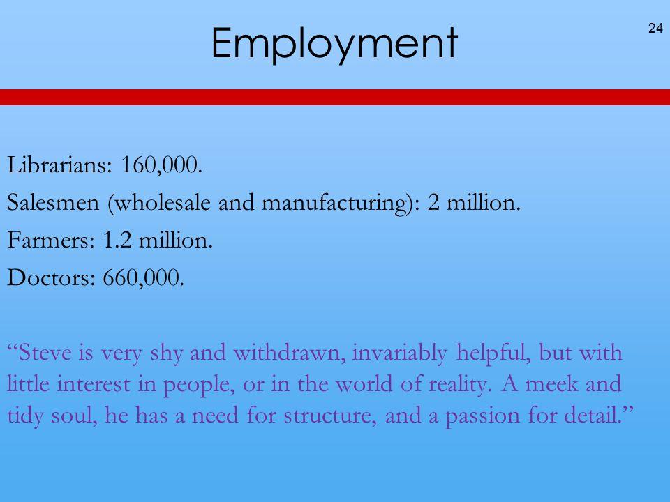 Employment 24 Librarians: 160,000. Salesmen (wholesale and manufacturing): 2 million.