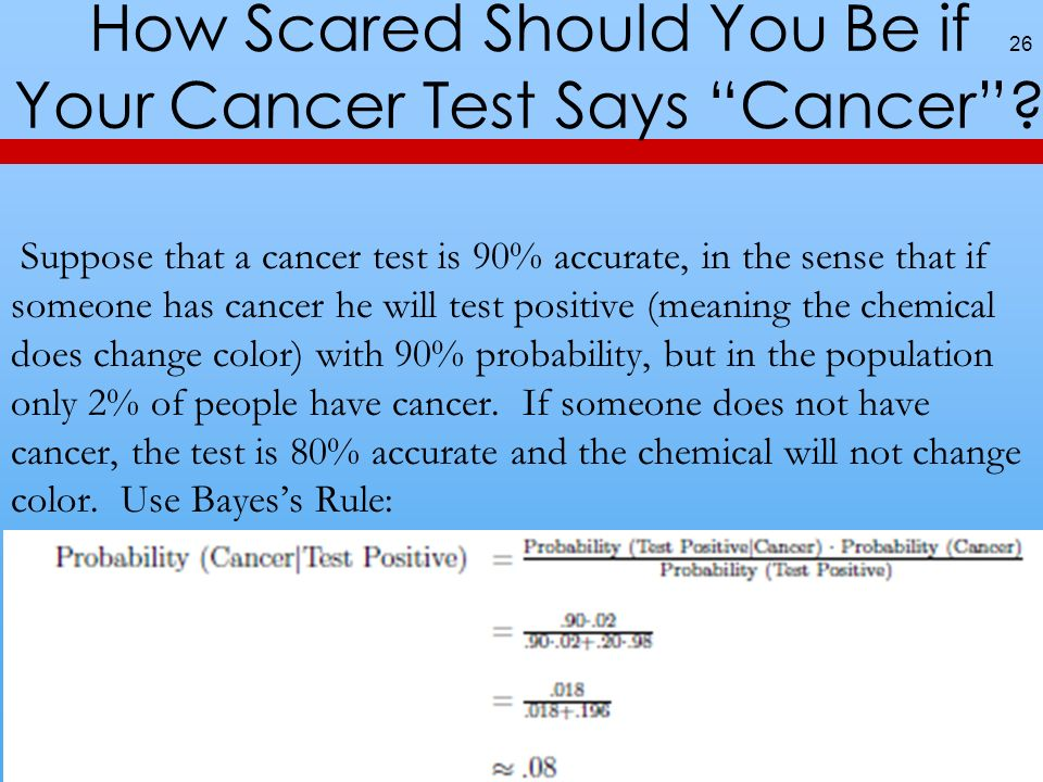 How Scared Should You Be if Your Cancer Test Says Cancer? 26 Suppose that a cancer test is 90% accurate, in the sense that if someone has cancer he wi