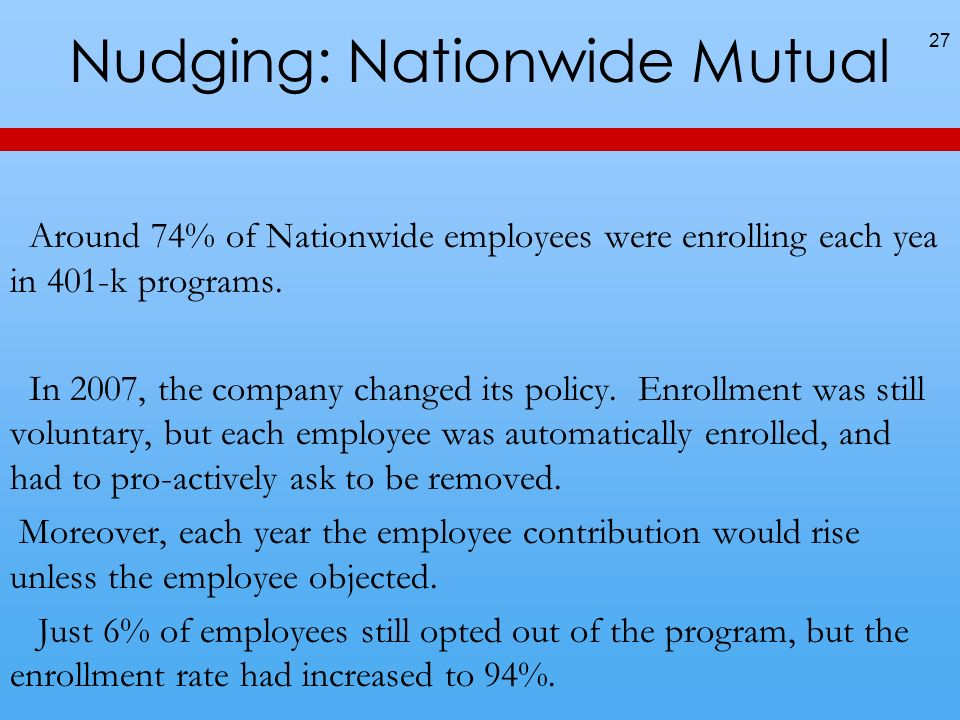 Nudging: Nationwide Mutual 27 Around 74% of Nationwide employees were enrolling each yea in 401-k programs.