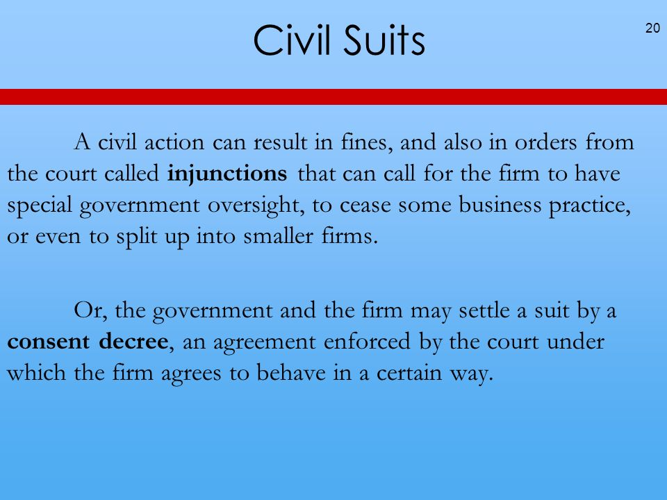 Civil Suits 20 A civil action can result in fines, and also in orders from the court called injunctions that can call for the firm to have special gov