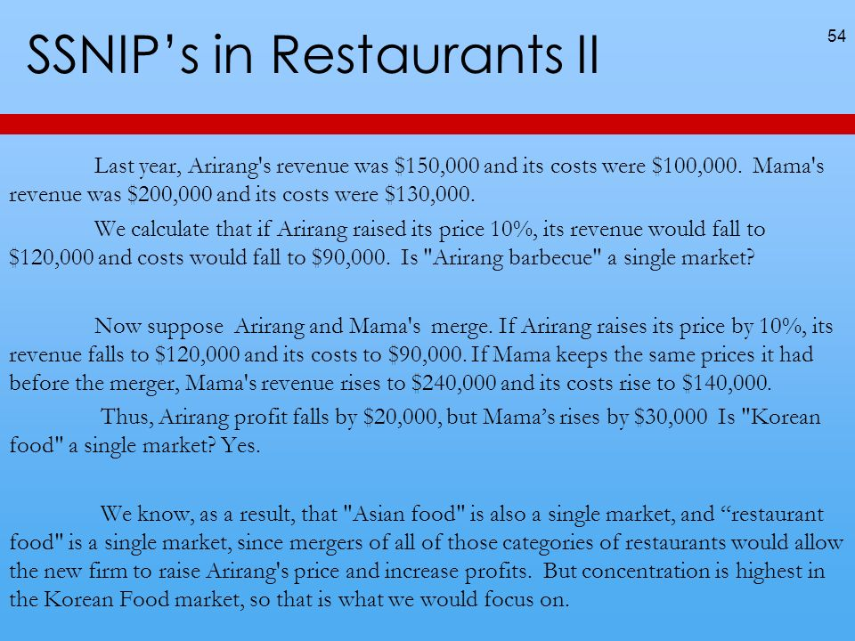 SSNIPs in Restaurants II Last year, Arirang's revenue was $150,000 and its costs were $100,000. Mama's revenue was $200,000 and its costs were $130,00