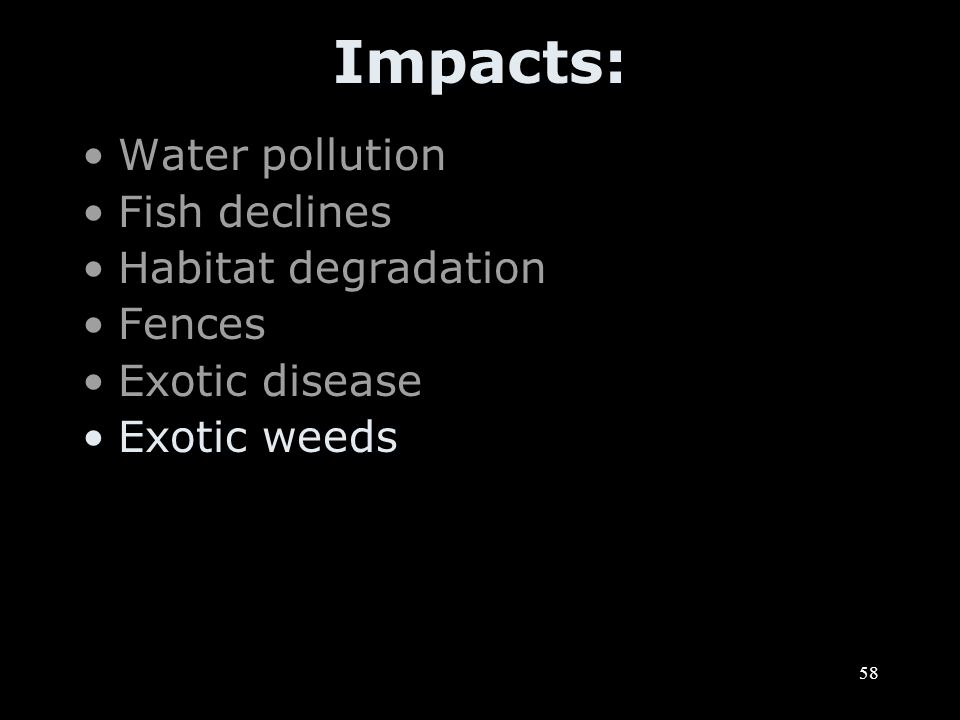 58 Impacts: Water pollution Fish declines Habitat degradation Fences Exotic disease Exotic weeds