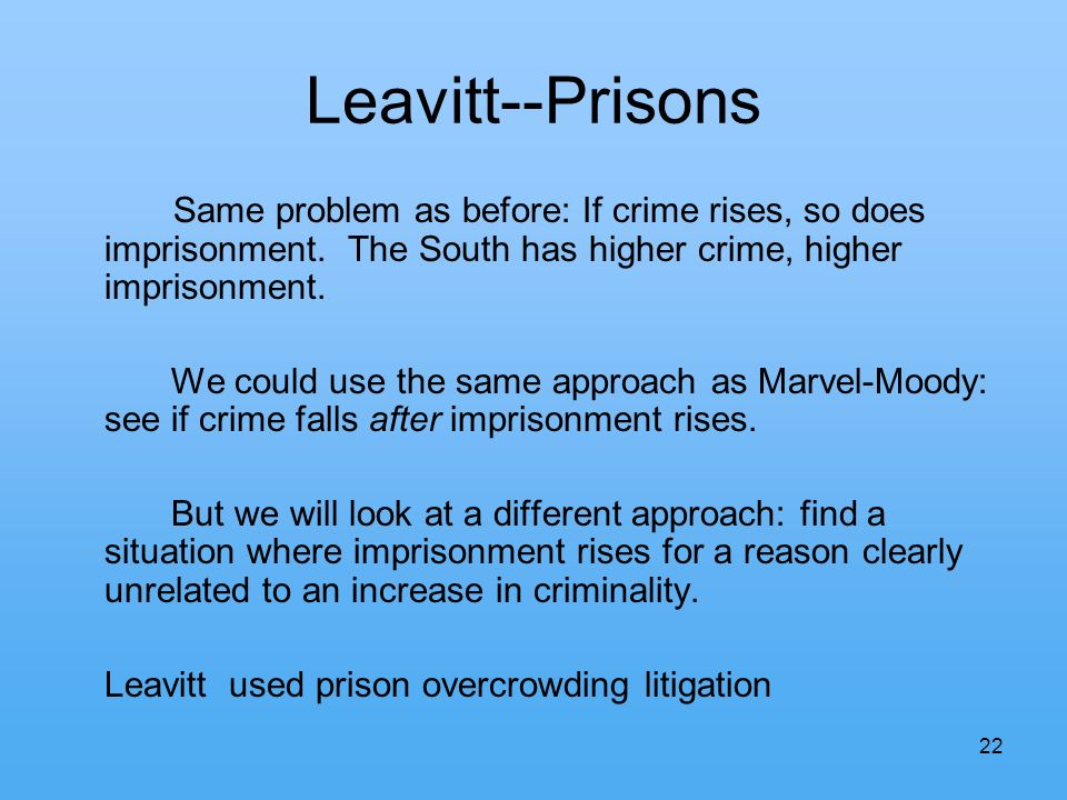 22 Leavitt--Prisons Same problem as before: If crime rises, so does imprisonment.