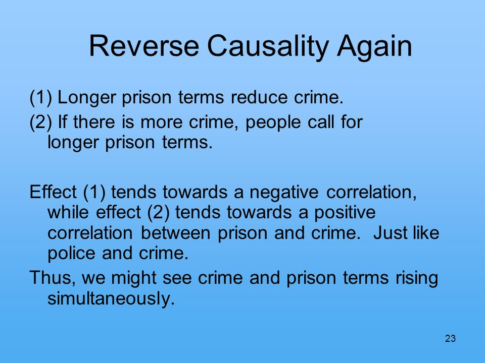 23 Reverse Causality Again (1) Longer prison terms reduce crime.