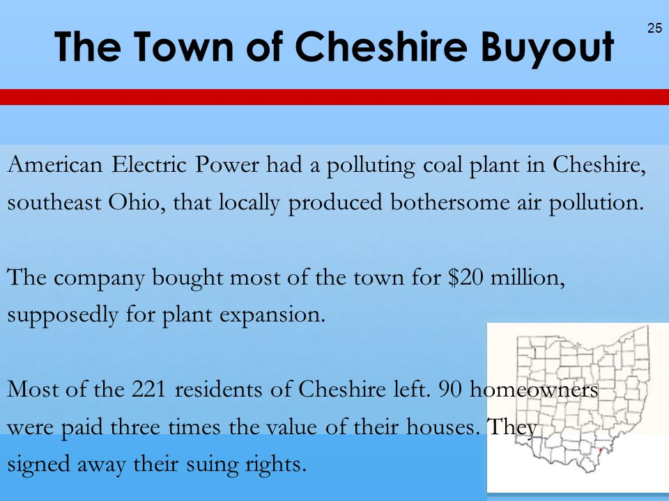 The Town of Cheshire Buyout American Electric Power had a polluting coal plant in Cheshire, southeast Ohio, that locally produced bothersome air pollution.