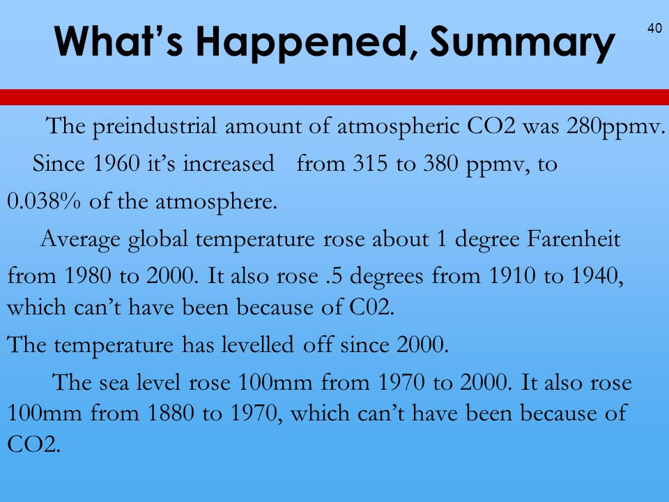 Whats Happened, Summary The preindustrial amount of atmospheric CO2 was 280ppmv.