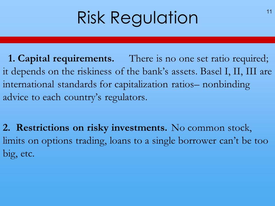 Risk Regulation 1. Capital requirements.