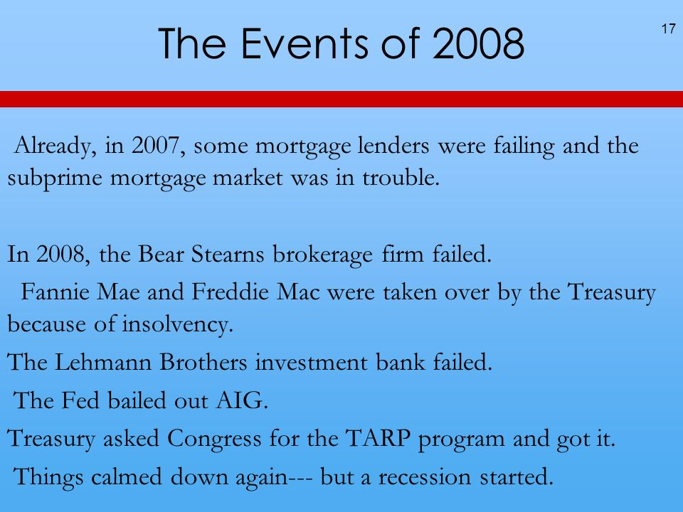 The Events of 2008 17 Already, in 2007, some mortgage lenders were failing and the subprime mortgage market was in trouble.