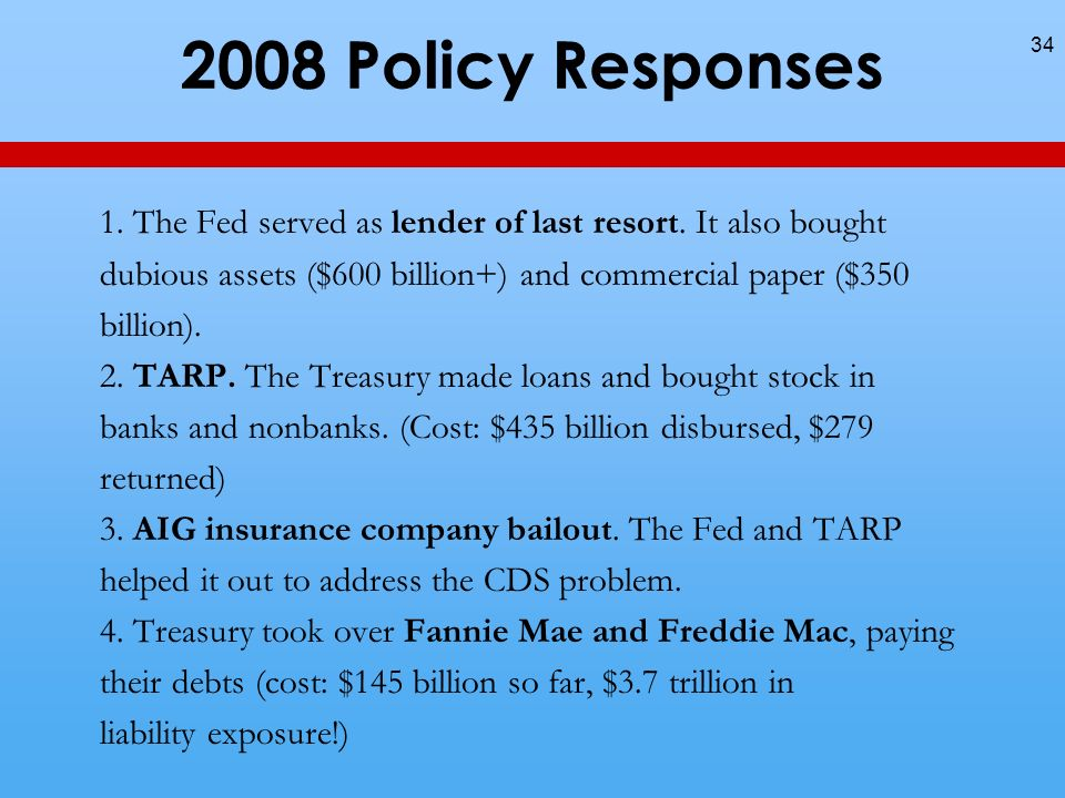 2008 Policy Responses 34 1. The Fed served as lender of last resort.