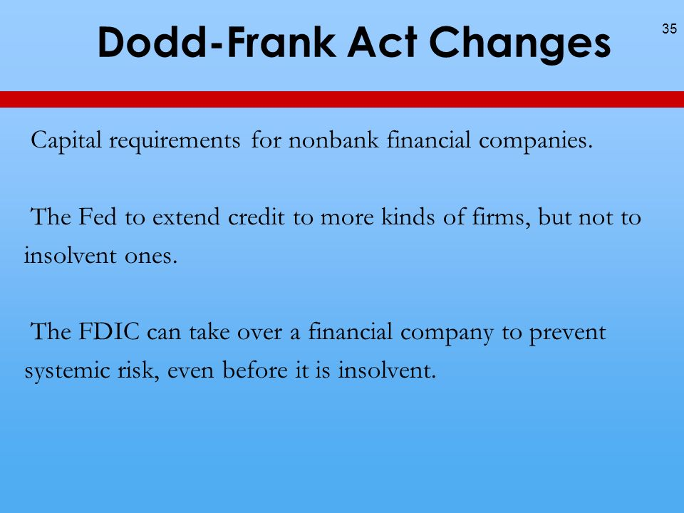 Dodd-Frank Act Changes 35 Capital requirements for nonbank financial companies.