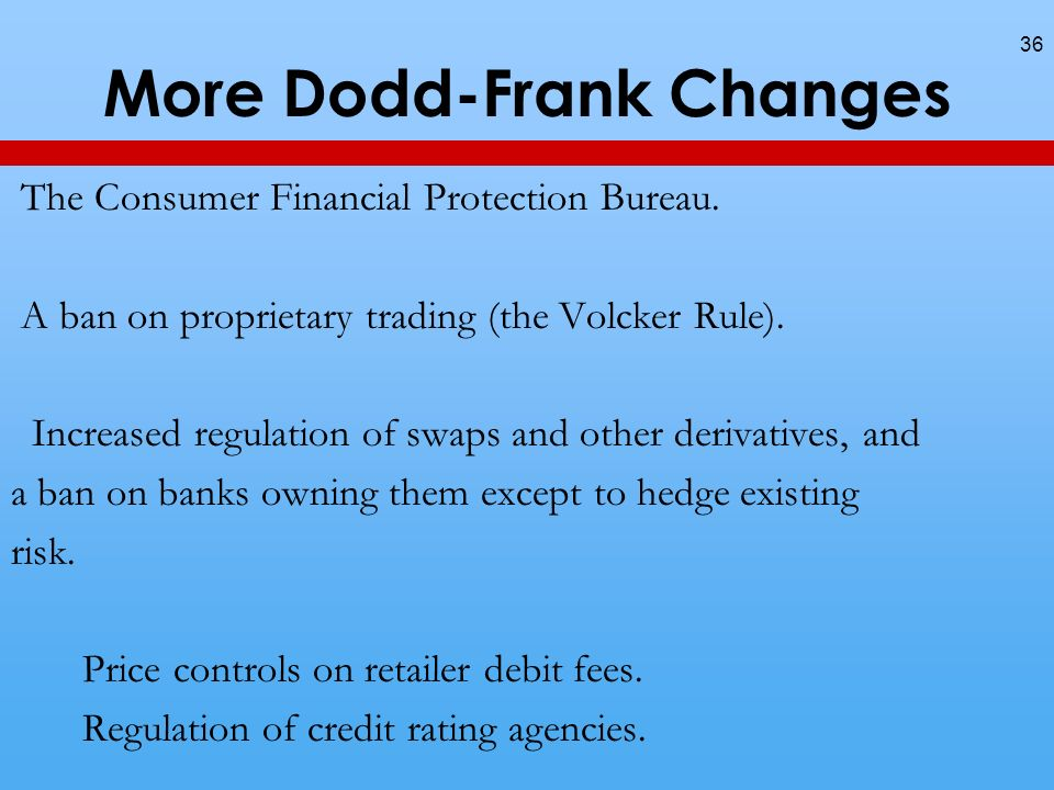 More Dodd-Frank Changes 36 The Consumer Financial Protection Bureau.