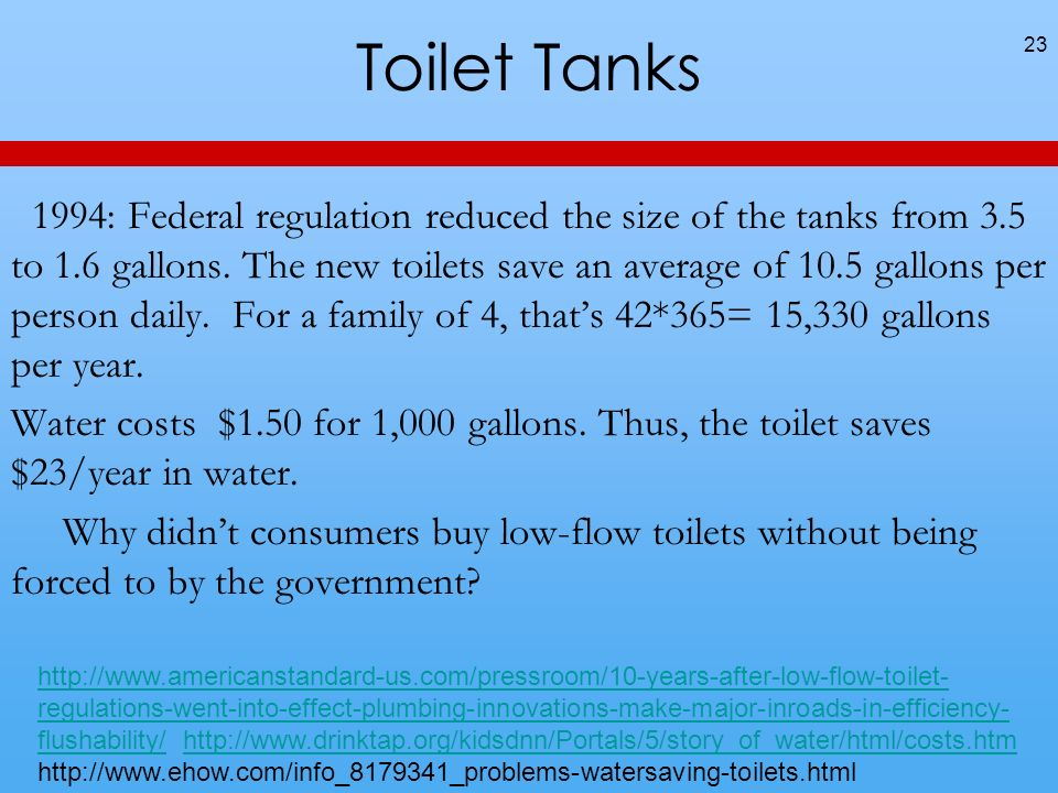 Toilet Tanks 1994: Federal regulation reduced the size of the tanks from 3.5 to 1.6 gallons.