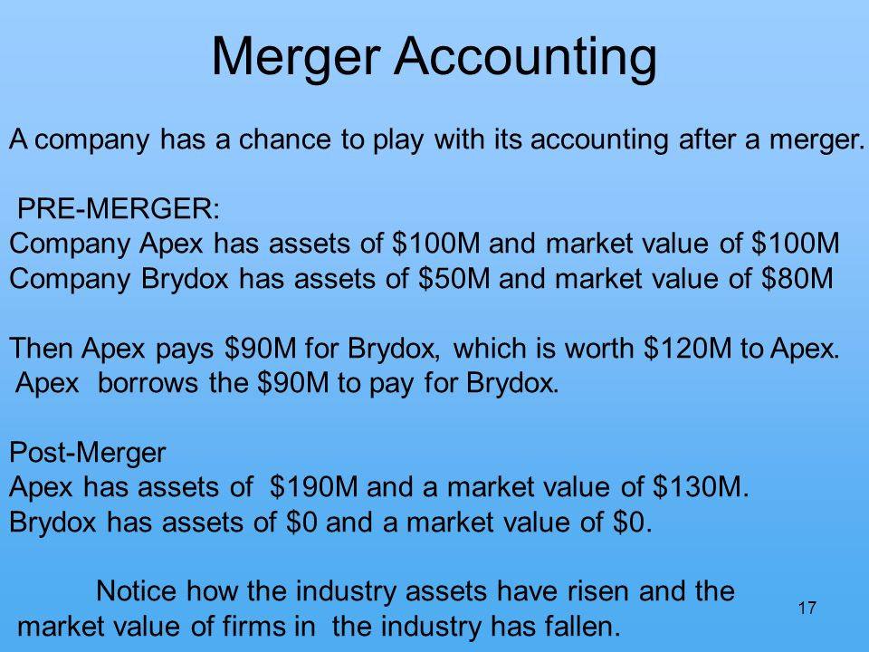 17 Merger Accounting A company has a chance to play with its accounting after a merger.