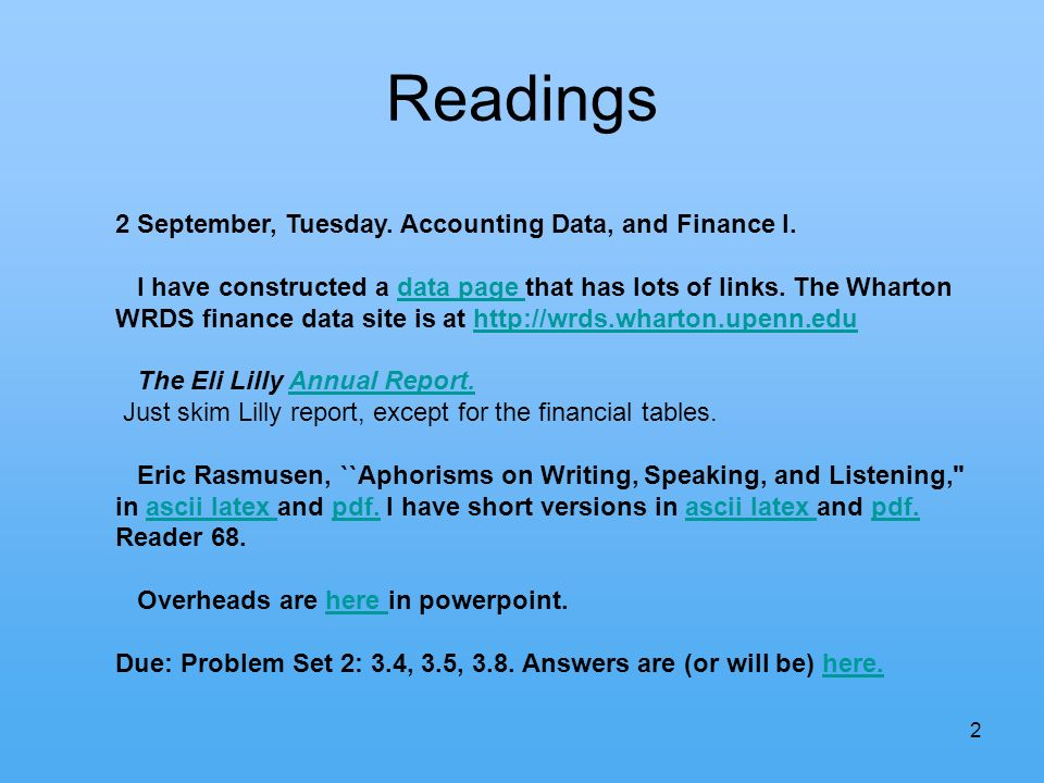 2 Readings 2 September, Tuesday. Accounting Data, and Finance I.