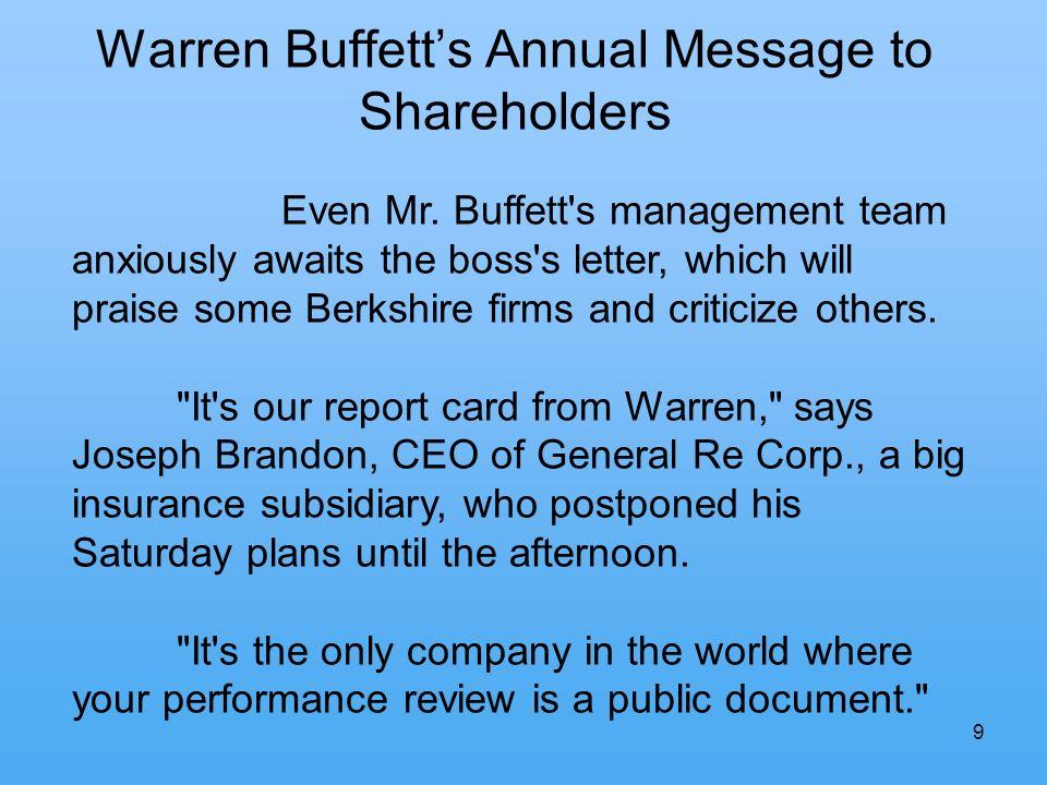 9 Warren Buffetts Annual Message to Shareholders Even Mr.