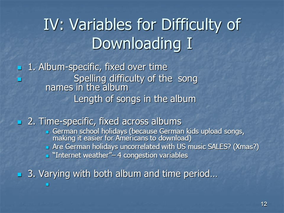12 IV: Variables for Difficulty of Downloading I 1.