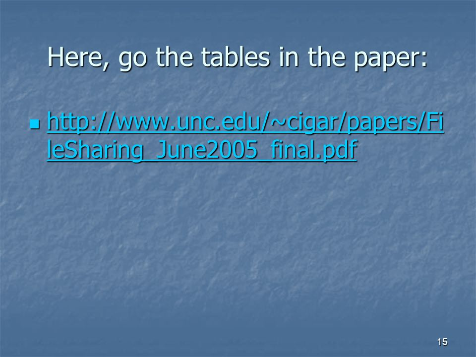 15 Here, go the tables in the paper: http://www.unc.edu/~cigar/papers/Fi leSharing_June2005_final.pdf http://www.unc.edu/~cigar/papers/Fi leSharing_June2005_final.pdf http://www.unc.edu/~cigar/papers/Fi leSharing_June2005_final.pdf http://www.unc.edu/~cigar/papers/Fi leSharing_June2005_final.pdf