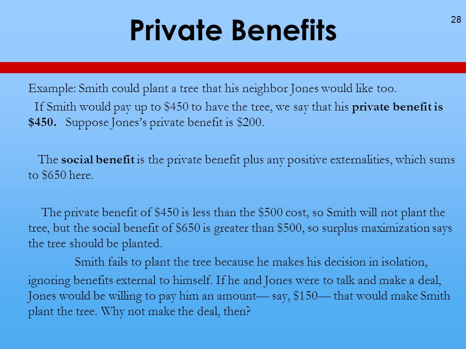 Private Benefits Example: Smith could plant a tree that his neighbor Jones would like too.