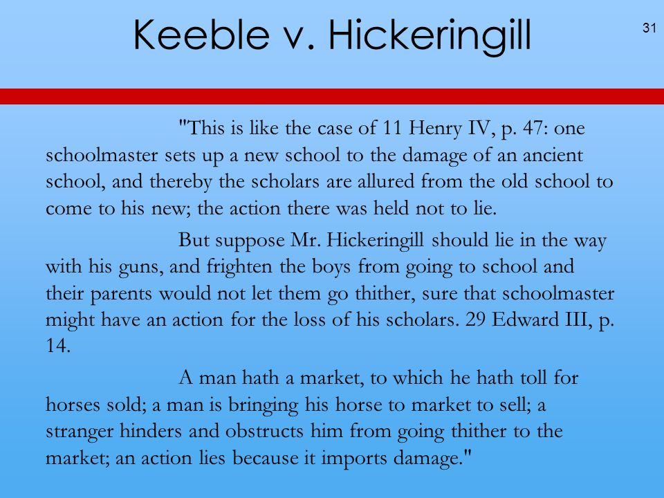 Keeble v. Hickeringill This is like the case of 11 Henry IV, p.