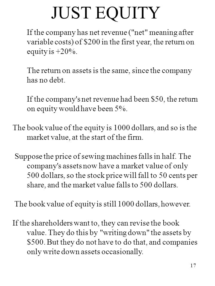 17 JUST EQUITY If the company has net revenue (