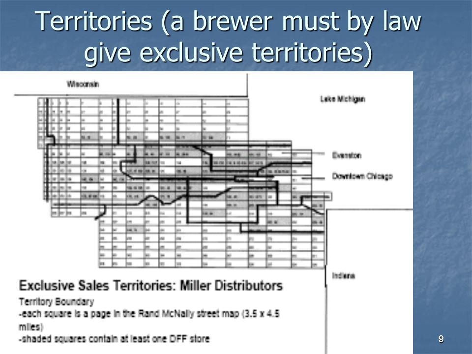 9 Territories (a brewer must by law give exclusive territories)