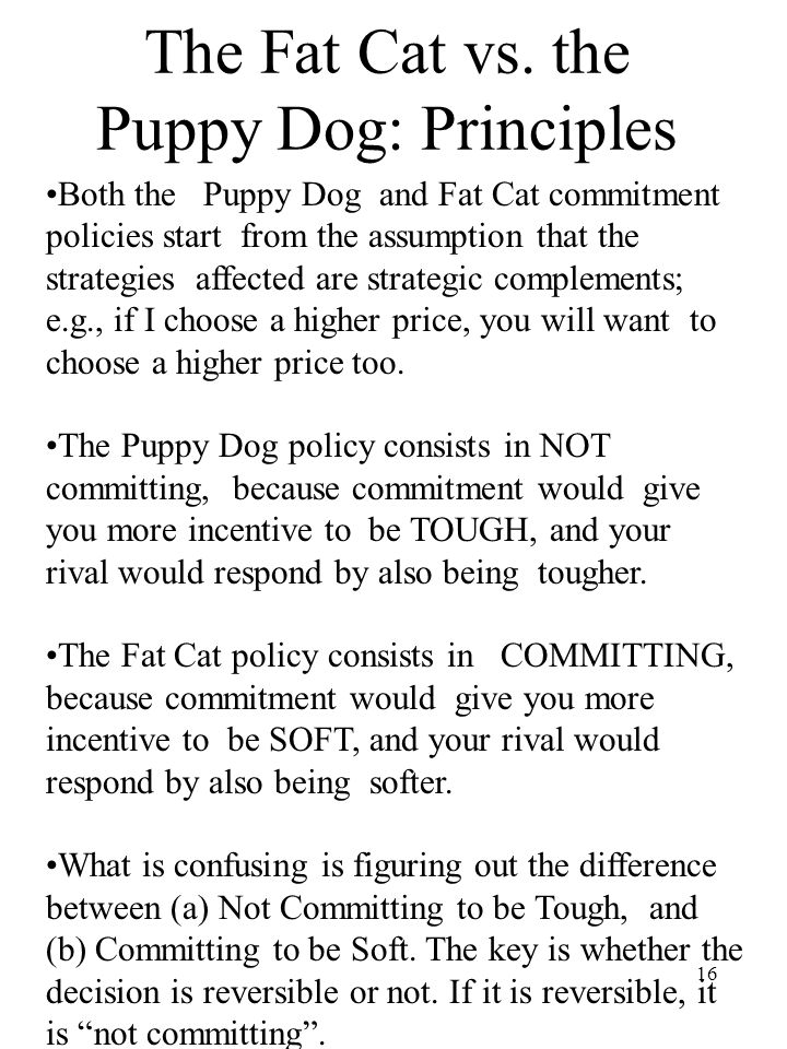 16 The Fat Cat vs. the Puppy Dog: Principles Both the Puppy Dog and Fat Cat commitment policies start from the assumption that the strategies affected