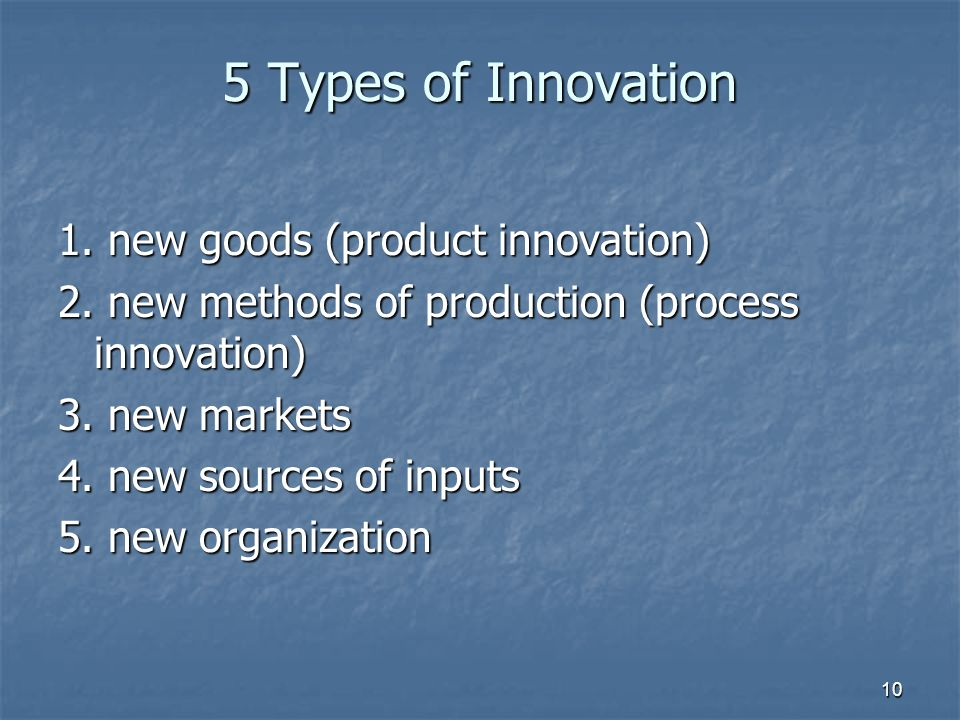 10 5 Types of Innovation 1. new goods (product innovation) 2.