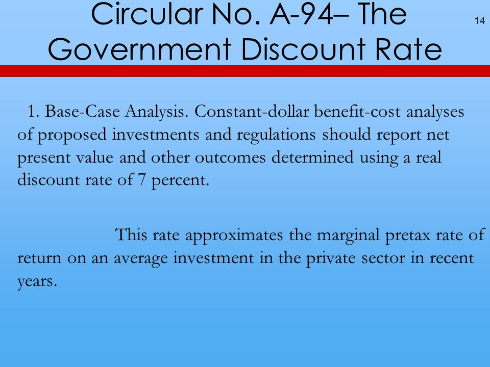Circular No. A-94– The Government Discount Rate 1.