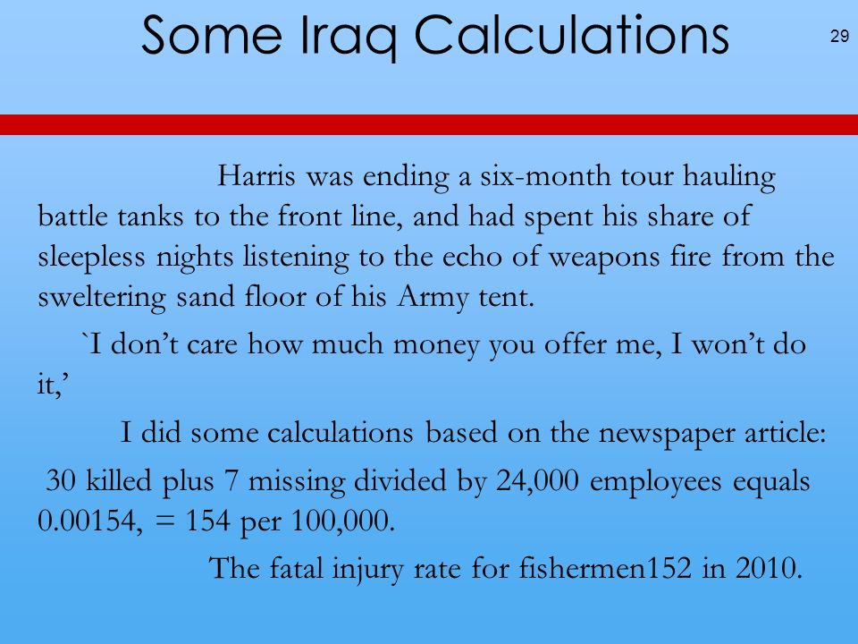 Some Iraq Calculations Harris was ending a six-month tour hauling battle tanks to the front line, and had spent his share of sleepless nights listening to the echo of weapons fire from the sweltering sand floor of his Army tent.