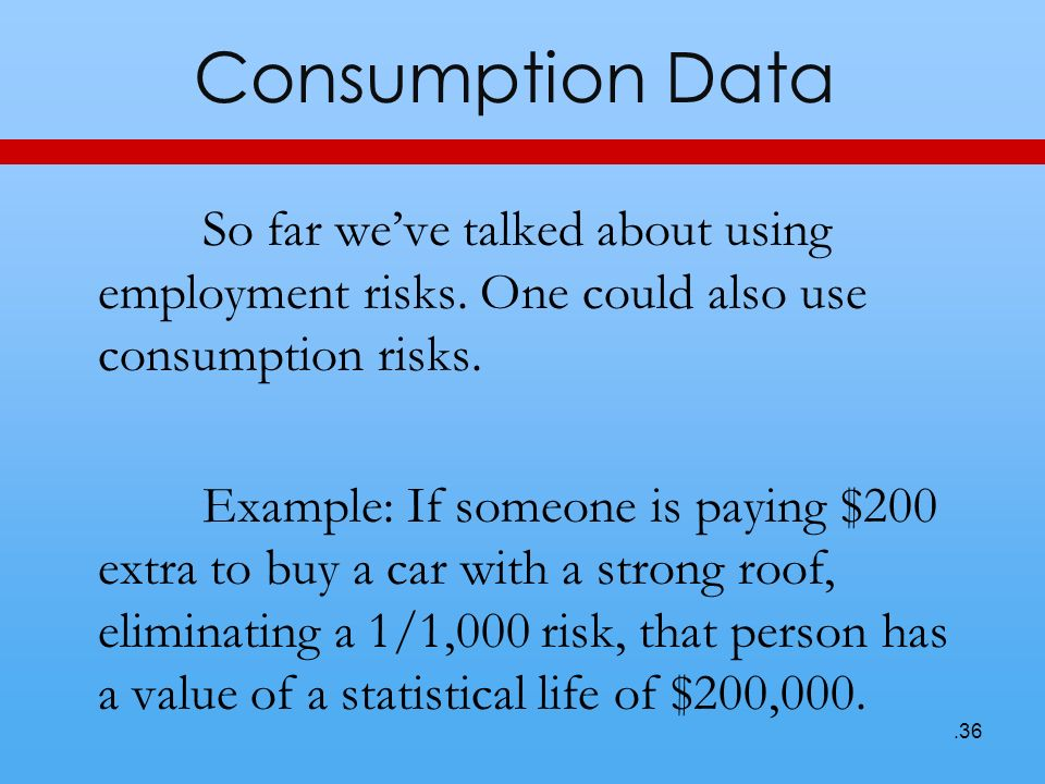 Consumption Data So far weve talked about using employment risks. One could also use consumption risks. Example: If someone is paying $200 extra to bu