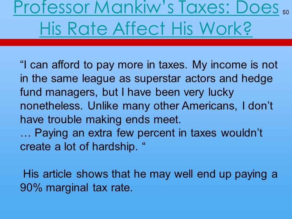 Professor Mankiws Taxes: Does His Rate Affect His Work.