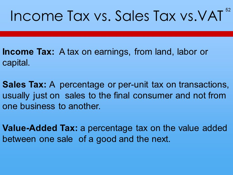 Income Tax vs. Sales Tax vs.VAT 52 Income Tax: A tax on earnings, from land, labor or capital. Sales Tax: A percentage or per-unit tax on transactions