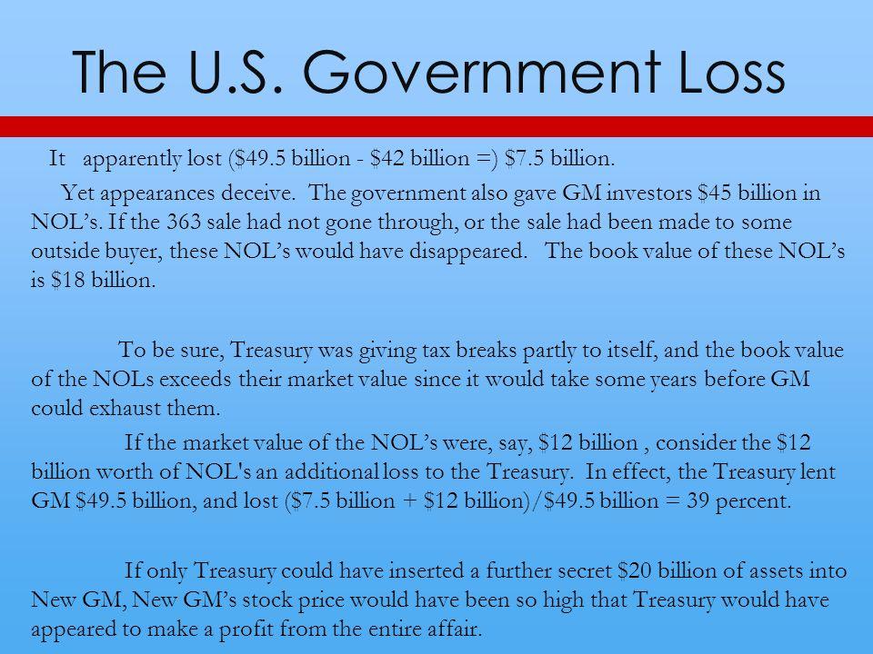 The U.S. Government Loss It apparently lost ($49.5 billion - $42 billion =) $7.5 billion.